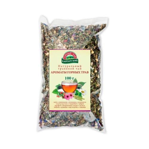 Натуральный травяной чай Ароматы горных трав Гірський чай Карпатський 100г