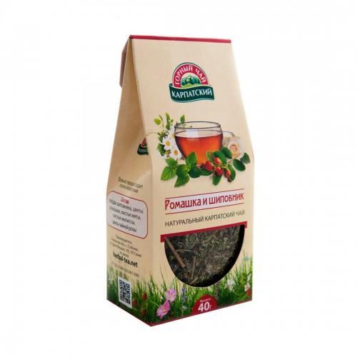 Натуральный карпатский чай Ромашка и шиповник Гірський чай Карпатський 40г