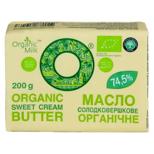 Масло органічне солодковершкове Селянське 74,5% OrganicMilk 200 г