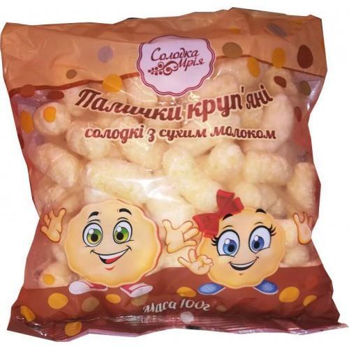 Крупяные палочки сладкие с сухим молоком неглазурованные Солодка Мрія 100г
