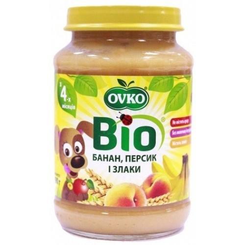 Пюре Персик-банан-злаки стерилізоване Biologic 190г
