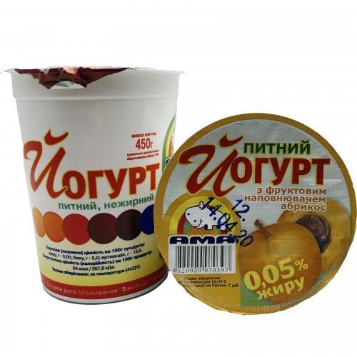 Йогурт питний нежирний з фруктовим наповнювачем Абрикос 0,05% АМА 450г