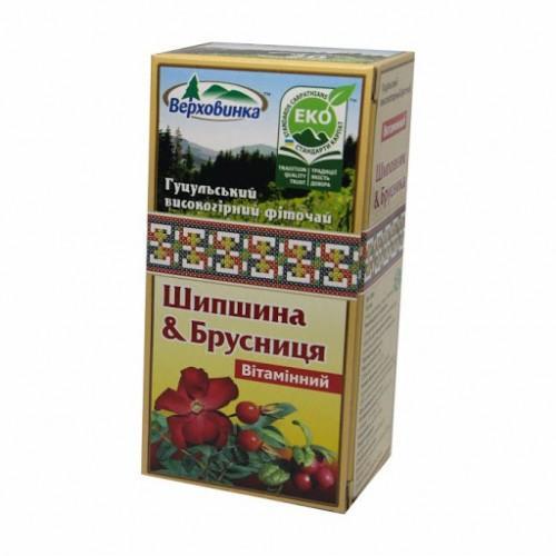 Фиточай Шиповник&брусника Витаминный Верховинка 20пак.х1,5г