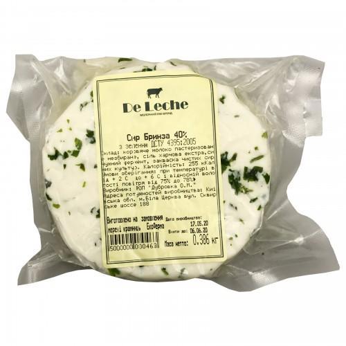 Сир Бринза із зеленню 40% DeLeche