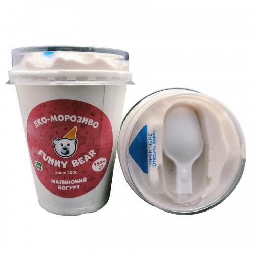 ЕКО-Морозиво натуральне вершкове Малиновий йогурт Funny Bear склянка 150мл