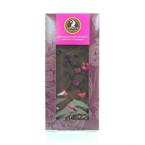 Шоколад молочний з вишнею та чорницею Shoud'e 100г