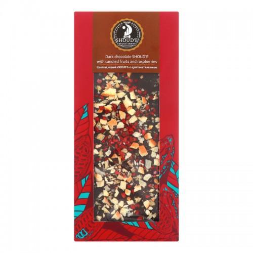Шоколад чорний з цукатами та малиною Shoud'e 100г