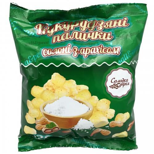 Круп'яні палички солоні з арахісом неглазуровані Солодка Мрія 100г