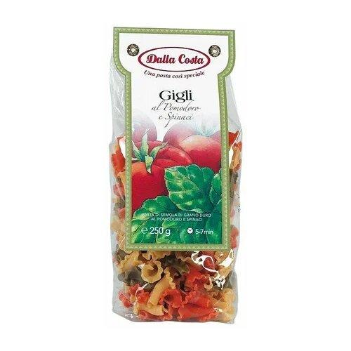 Макароны из твердых сортов пшеницы с  помидорами и шпинатом Gigli  Dalla Costa 250г