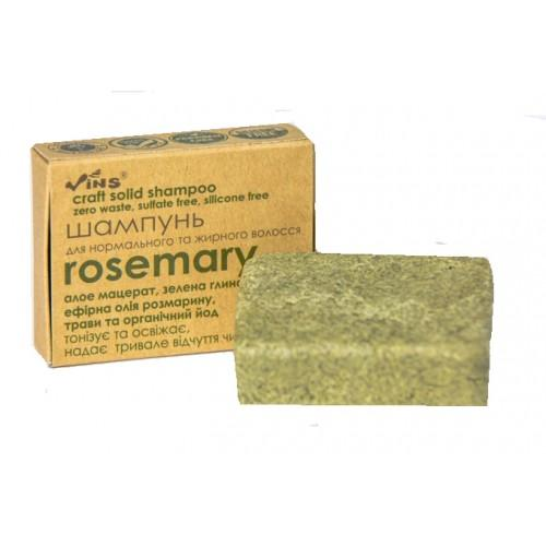 Шампунь твердый крафтовый Rosemary для нормальных и жирных волос TM Vins 85г