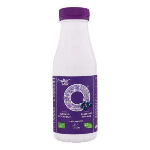 Йогурт органический питьевой с пробиотиком  Черника 2,5%  OrganicMilk 300г