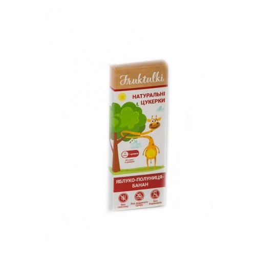 Натуральні цукерки Яблуко-полуниця-банан Fruktulki 40г