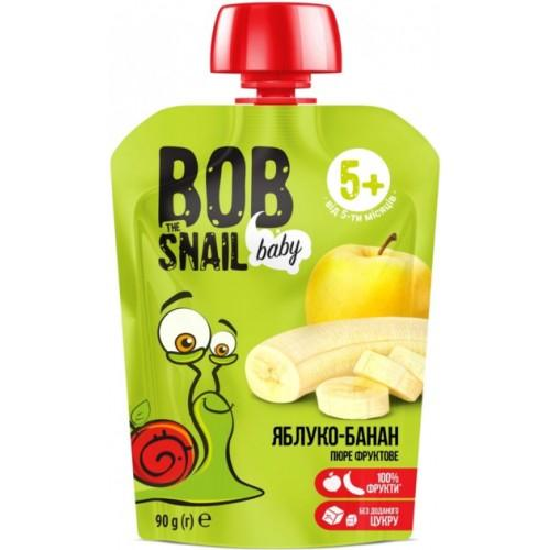 Пюре фруктове Яблуко-банан для дітей Bob Snail - Равлик Боб  пауч 90г