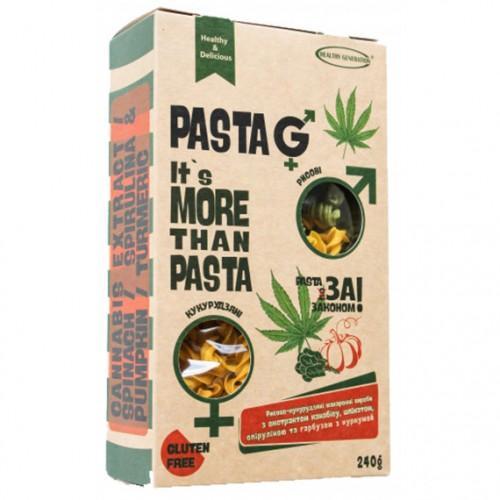 Макарони  рисово-кукурудзяні з екстрактом канабісу, шпінатом, спіруліною, гарбузом та куркумою Healthy Generation 240г