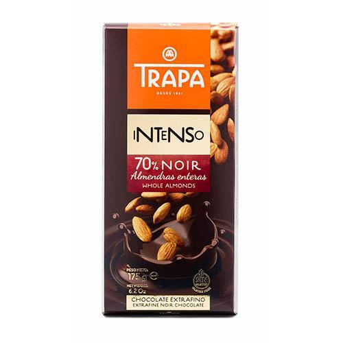 Шоколад без цукру чорний з цілим мигдалем 70% Trapa 175г
