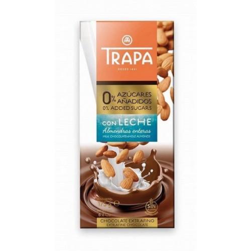 Шоколад без цукру молочний з цілим мигдалем Trapa 175г
