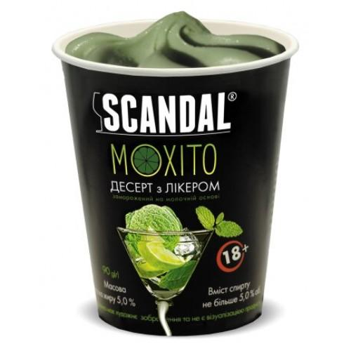 Десерт замороженный с ликером на молочной основе со вкусо-ароматическим наполнителем Мохито содержание жира 5%, спирта не более5%  Scandal 90г