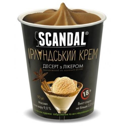 Десерт замороженный с ликером на молочной основе со вкусо-ароматическим наполнителем Ирландский крем содержание жира 9%, спирта не более5%  Scandal90г