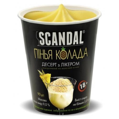 Десерт замороженный с ликером на молочной основе со вкусо-ароматическим наполнителем Пинья колада содержание жира 9%, спирта не более5%  Scandal 90г