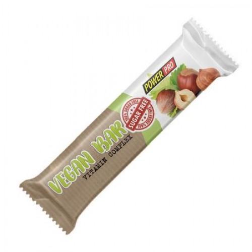 Протеїновий батончик для спортивного харчування Vegan Bar з горіхами, сухофруктами та злаками глазурований без цукру 32% Power Pro 60г