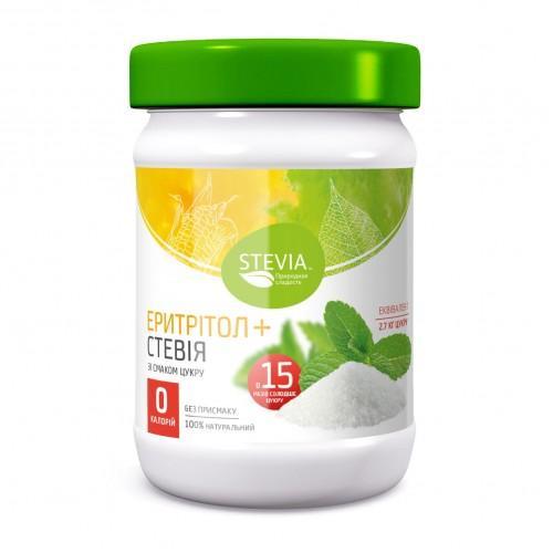 Солодкий екстракт з листя стевії з еритритолом  180г Stevia