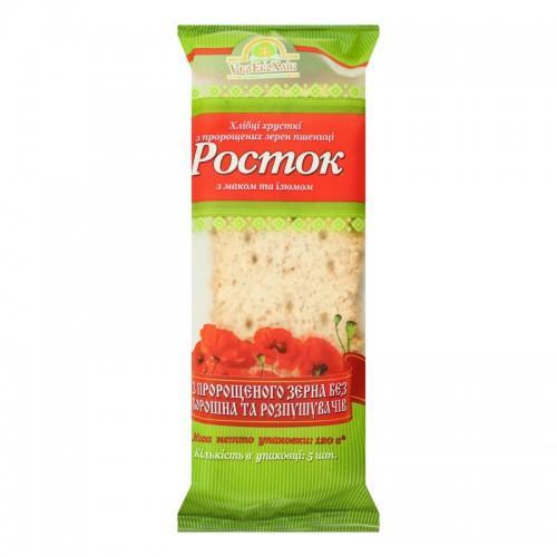 Хлебцы Росток Из пророщенных зерен пшеницы с маком  и изюмом УкрЕкоХліб 120г