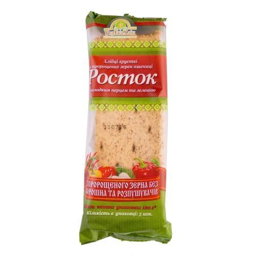 Хлебцы Росток Из пророщенного зерна пшеницы со сладким перцем и зеленью УкрЕкоХліб 120г